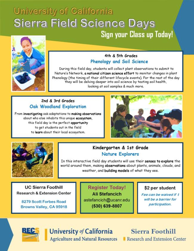 2019 Field Science Day K-5th Grade Flyer